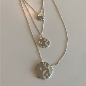 Silver three chain necklace